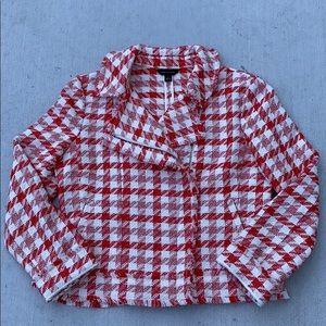 Ann Taylor M Houndstooth Biker Tweed Fringe Jacket